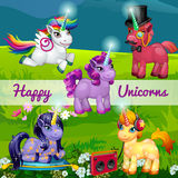 Unusual cartoon unicorns in a meadow, set of five Stock Image
