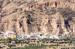 Unusual cave-houses in Los Banos near Guadix, Spain Royalty Free Stock Photography
