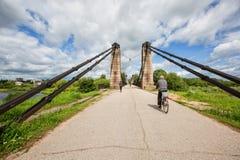 Unique Chain Bridge in the Island City. An unusual chain bridge in the city of Ostrov Stock Image