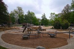 An unusual children`s playground, which develops intelligence in children. Luxembourg, Grand Duchy of Luxembourg.  royalty free stock photo