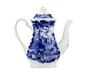Unusual China teapot,isolated. Royalty Free Stock Image