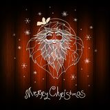 Unusual christmas card design. Wood background with hand drawn santa claus. Xmas card with `Merry Christmas` typography. Vector. Unusual christmas card design Stock Image