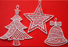 Unusual christmas fabric decorations Royalty Free Stock Photos