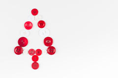 Unusual christmas tree design, white and red buttons tree christmas background, isolated Stock Images