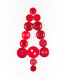 Unusual christmas tree design, white and red buttons tree christmas background, isolated Stock Photos