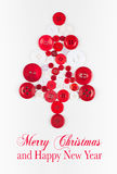 Unusual christmas tree design, white and red buttons tree christmas background, isolated Royalty Free Stock Photos