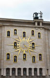 Unusual clock in Brussels. Old and interesting outdoor clock in Brussels, Belgium Royalty Free Stock Photo