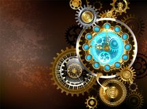 Unusual clock with gears Steampunk. Composition of unusual antique watches and gold and brass gears on a brown, rusty background. Steampunk style vector illustration