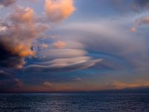 Unusual cloud over sea. Royalty Free Stock Images
