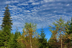 Unusual clouds, autumn scenery in the vicinity of Zelezna Ruda, Czech republic Royalty Free Stock Photos