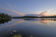 Unusual Clouds at Sunset in the North Woods Stock Image