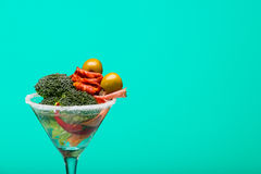 Unusual cocktail with meat and vegetables, with copy space Stock Images