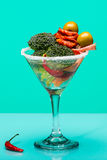 Unusual cocktail with meat and vegetables Royalty Free Stock Photo
