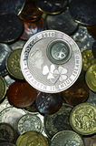 Unusual coin closeup stock photos