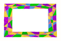 Unusual colorful abstract bright free hand  drawn frame. Stock Photography