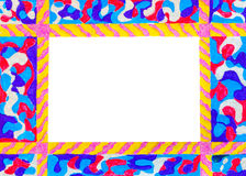 Unusual colorful bright free hand drawn frame. Stock Image