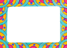 Unusual colorful bright free hand drawn frame. Stock Photography