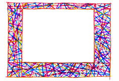 Unusual colorful bright free hand line drawn frame. Royalty Free Stock Images