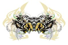Unusual colorful dragon butterfly splashes Royalty Free Stock Photos
