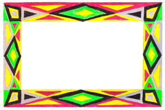 Unusual colorful patterned bright free hand  drawn frame. Royalty Free Stock Photo