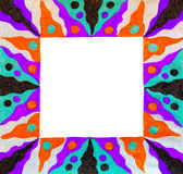 Unusual colorful patterned bright free hand  drawn frame. Stock Photos