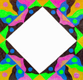 Unusual colorful patterned bright free hand  drawn frame. Royalty Free Stock Photography
