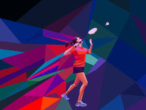 Unusual colorful triangle background. Geometric polygonal professional female badminton player Stock Images