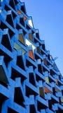 Unusual colors of the evening facade of the sanatorium foros with amazing geometric pattern of balconies. Unusual colors of the evening facade of the sanatorium stock photo