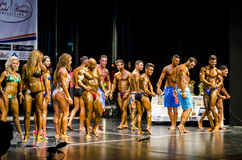 Stage full of Bodybuilders Royalty Free Stock Image