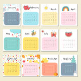 Unusual cute calendar for 2018. Unusual calendar for 2018 with cartoon and funny illustrations . Vector illustration in cute style. Week starts Sunday Royalty Free Stock Photo