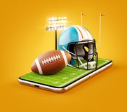 Unusual 3d illustration of an American football field with helmet and ball on a smartphone screen. Watching football and betting online concept vector illustration
