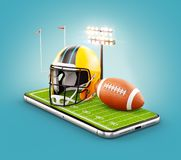 Unusual 3d illustration of an American football field with helmet and ball on a smartphone screen. Watching football and betting online concept stock illustration