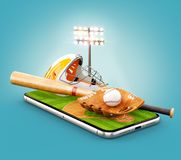 Unusual 3d illustration of a baseball stadium with bat, helmet, baseball glove and ball on a smartphone screen. Watching baseball and betting online concept royalty free illustration