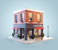 Unusual 3d illustration of a cozy cafe. Coffee shop or coffeehouse building with red awning stock illustration