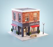 Unusual 3d illustration of a cozy cafe. Coffee shop or coffeehouse building with red awning vector illustration