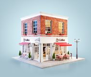 Unusual 3d illustration of a cozy cafe. Coffee shop or coffeehouse building with red awning and outdoor tables royalty free illustration