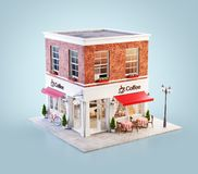 Unusual 3d illustration of a cozy cafe. Coffee shop or coffeehouse building with red awning and outdoor tables stock illustration