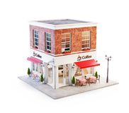 Unusual 3d illustration of a cozy cafe. Coffee shop or coffeehouse building with red awning and outdoor tables. Isolated royalty free illustration