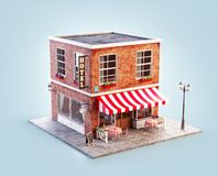 Unusual 3d illustration of a cozy cafe. Coffee shop or coffeehouse building with striped awning and outdoor tables vector illustration