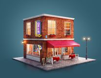 Unusual 3d illustration of a cozy cafe. Unusual 3d illustration of a night club, cafe, pub or bar building with red awning, neon signs and outdoor tables stock illustration