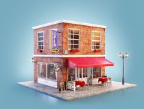 Unusual 3d illustration of a cozy cafe. Unusual 3d illustration of a cafe, pub or bar building with red awning, neon signs and outdoor tables stock illustration