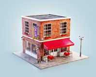 Unusual 3d illustration of a cozy cafe. Unusual 3d illustration of a cafe, pub or bar building with red awning, neon signs and outdoor tables vector illustration