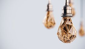 Unusual 3d illustration of hanging stylized low poly light bulbs with golden wire. Conceptual background. Unusual 3d illustration of hanging stylized low poly royalty free illustration