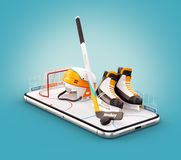 Unusual 3d illustration of hockey equipment on an ice rink on a smartphone screen. Watching hockey and betting online concept stock illustration