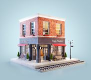 Unusual 3d illustration of a train station building. And platform with bench under awning royalty free illustration