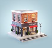 Unusual 3d illustration of a train station building. And platform with bench under awning stock illustration