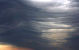Unusual dark gray stratus clouds. Aerial view, skyscape stock photo