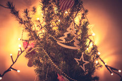 Unusual decorated Christmas tree in orange colors Stock Photography