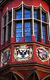 Unusual decorated window and balcony of old Historical Merchants Hall facade, Freiburg im Breisgau, Germany