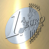 Unusual depiction of a one euro coin Stock Photo